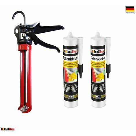 Folienkleber 2 x Dichtkleber + Premium Auspresspistole Dampfbremse Dampfsperre
