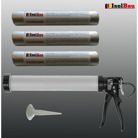 Folienkleber 3 x 600 ml für Dampfbremse + Hochwertige Schlauchbeutelpistole SET