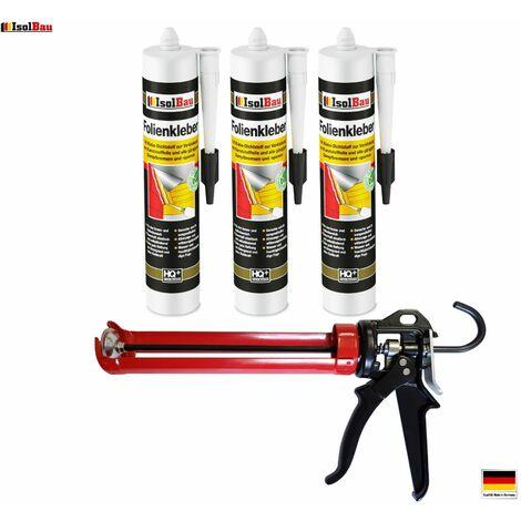 Folienkleber 3 x Dichtkleber + Premium Auspresspistole Dampfbremse Dampfsperre