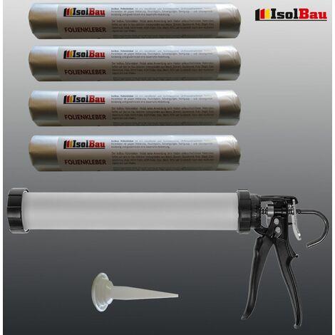 Folienkleber 4 x 600ml EPDM Teichfolienkleber + Schlauchbeutelpistole