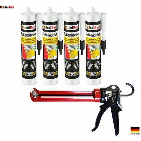 Folienkleber 4 x Dichtkleber + Premium Auspresspistole Dampfbremse Dampfsperre