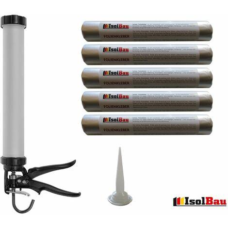 Folienkleber 5 x 600 ml für Dampfbremse + Hochwertige Schlauchbeutelpistole SET