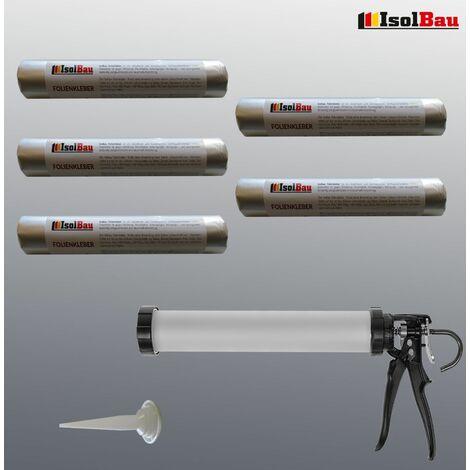 Folienkleber 5 x 600ml EPDM Teichfolienkleber + Schlauchbeutelpistole
