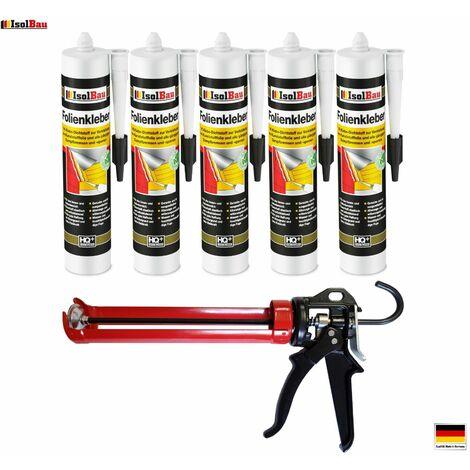 Folienkleber 5 x Dichtkleber + Premium Auspresspistole Dampfbremse Dampfsperre