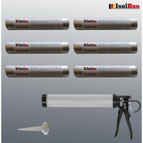 Folienkleber 6 x 600ml EPDM Teichfolienkleber + Schlauchbeutelpistole