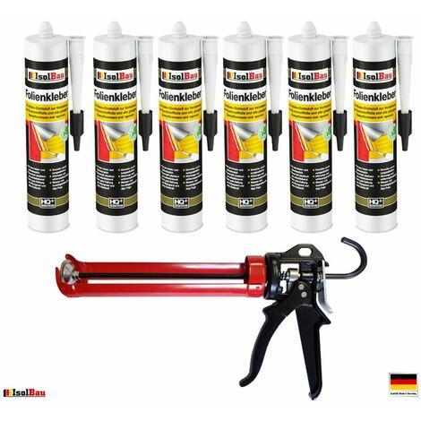 Folienkleber 6 x Dichtkleber + Premium Auspresspistole Dampfbremse Dampfsperre