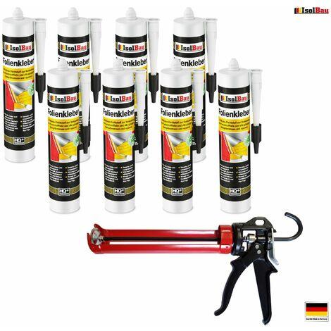 Folienkleber 8 x Dichtkleber + Premium Auspresspistole Dampfbremse Dampfsperre