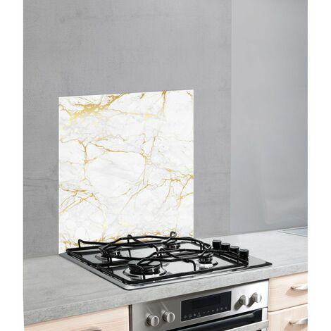 """Fond de hotte, crédence cuisine verre, """"Marbre doré"""", 60x70 cm"""
