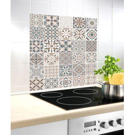 Fond hotte design Carreaux - L. 60 x l. 70 cm - Beige - Beige
