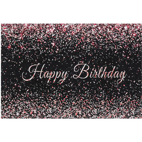 Fondo de fotografía de feliz cumpleaños de oro rosa brillante decoración de fotografía de fiesta 250 * 180 cm