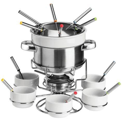 Fondue Set,Serves 6,Stainless Steel/Porcelain