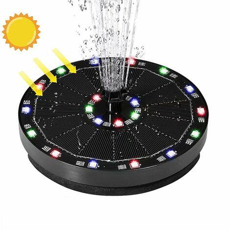 """main image of """"Fontaine à énergie solaire suspendue piscine extérieure fontaine flottante d'eau qui coule batterie de stockage 7V3W avec lumières colorées fontaine oiseau veut fontaine"""""""