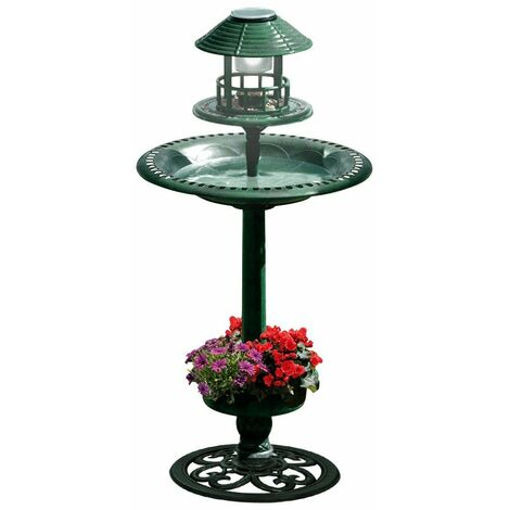 Fontaine abreuvoir à oiseaux sur pied avec lampe solaire et mangeoire Vert 95 cm