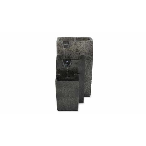 Fontaine cascade en pierre reconstituée grise avec LED 45 x 35 x 60cm Niagara - Gris - Gris