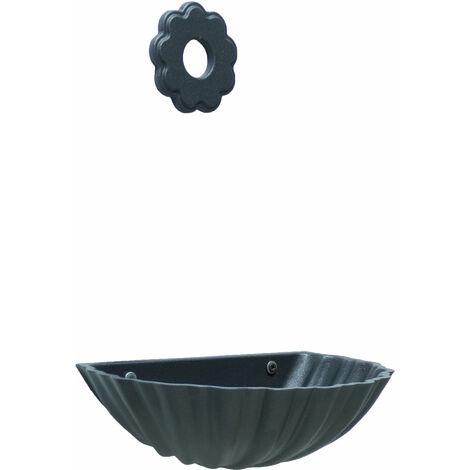 """main image of """"Fontaine de baignoire murale Conchiglia en fonte grise avec rosace de fleurs pour jardin à la maison"""""""