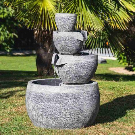 Fontaine de jardin bassin rond 1.10m 4 coupes noire grise - 486