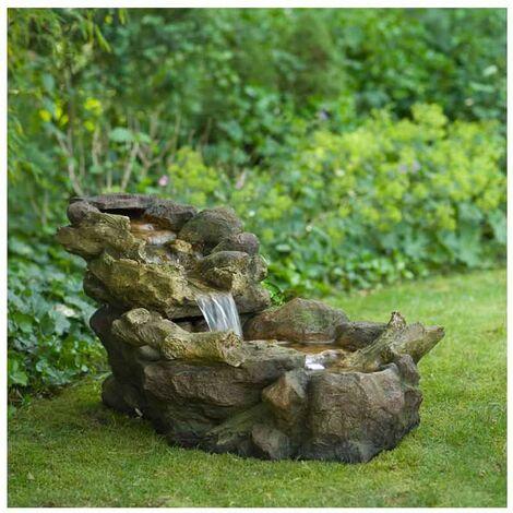 Fontaine de jardin chute d\'eau Aspen à éclairage LED avec pompe ...