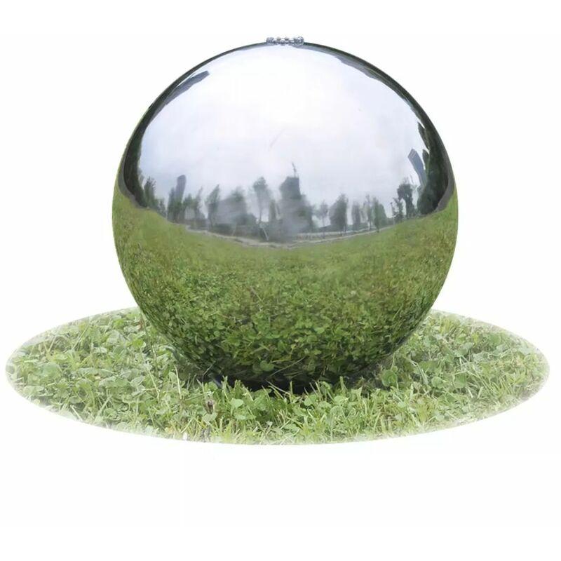 Fontaine de jardin sphere avec LED en acier inoxydable 20 cm