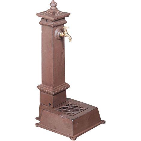 Fontaine en fonte finition rouille patinée L37xPR33xH78,5 cm