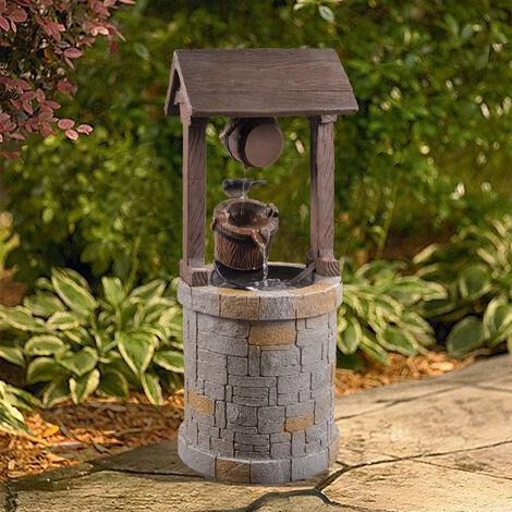 Fontaine extérieur jardin décoration chute d'eau cascade forme de puit avec pompe Peaktop VFD8212-EU