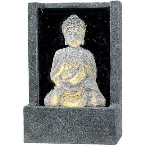 Fontaine extérieure statue Bouddha assis avec LED dans socle effet pierre - Jardideco