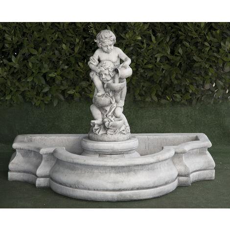 Fontaine murale classique en béton-pierre Mod. Marina Royal 46x26x102cm.