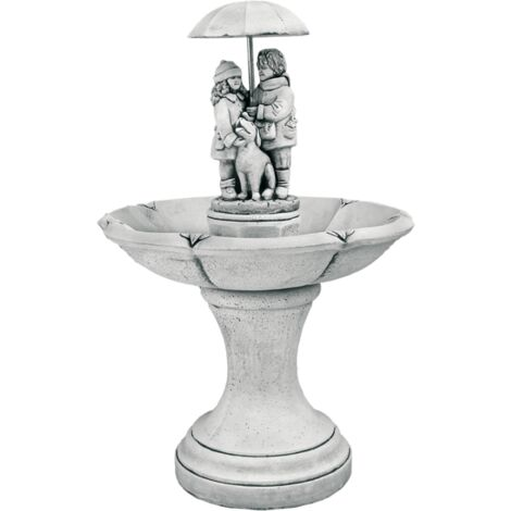 FONTAINE  MURALE DE JARDIN en béton-pierre avec pompe à eau MURAL 50X34X122cm.