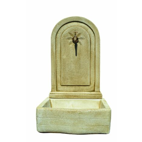 FONTAINE  MURALE DE JARDIN en béton-pierre Beausoleil  46x62x98cm.