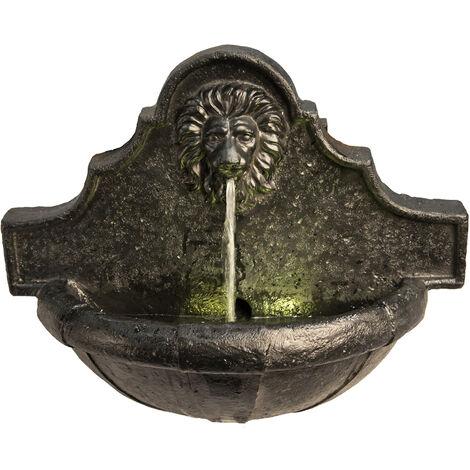 Fontaine murale d'extérieure de jardin à tête de lion à éclairage LED Peaktop VFD8433-EU