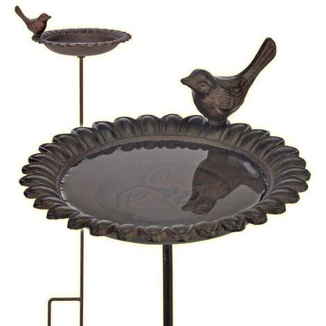 """main image of """"Fontaine pour oiseaux baignoire mangeoire en fonte marron - noir"""""""