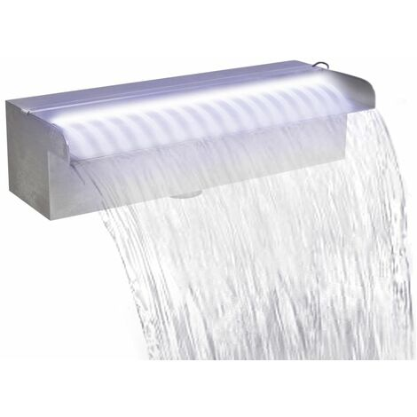 Fontaine rectangulaire de piscine avec LED Inox 30 cm