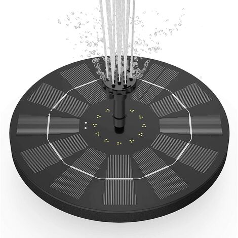Fontaine solaire avec panneau solaire de 3,5 W, pompe de bassin solaire, pompe à eau à batterie intégrée de 1500 mAh