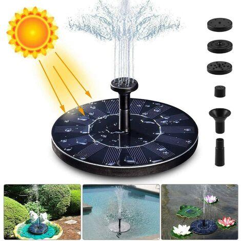 Fontaine Solaire Pompe, 1.4W 150L/h Pompe à Eau Solaire(70CM Maximum) + 6 Buses, Mini Pompe Solaire pour Fontaines D'Étang Jardin Décoratives(Pas Besoin Batterie et Électricité Requise)
