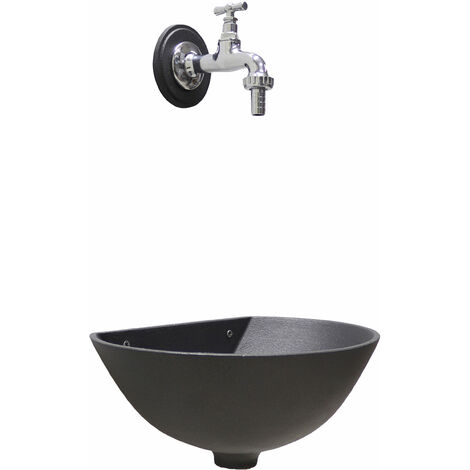 Fontana a muro mod. 600 colore grigio ghisa con rubinetto cod. 195/C cromato per casa e giardino