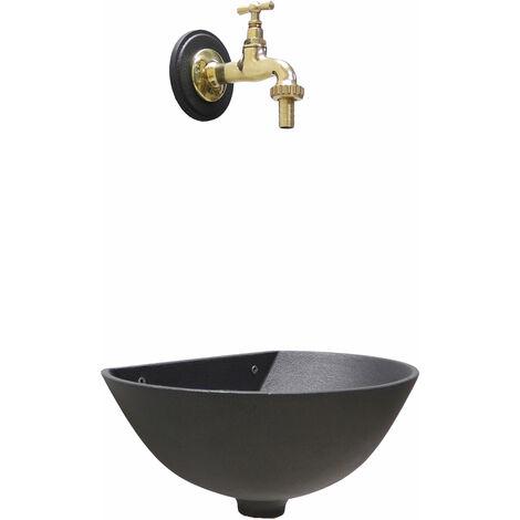 """main image of """"Fontana a muro mod. 600 colore grigio ghisa per casa giardino con rubinetto cod.195/L in ottone lucido"""""""