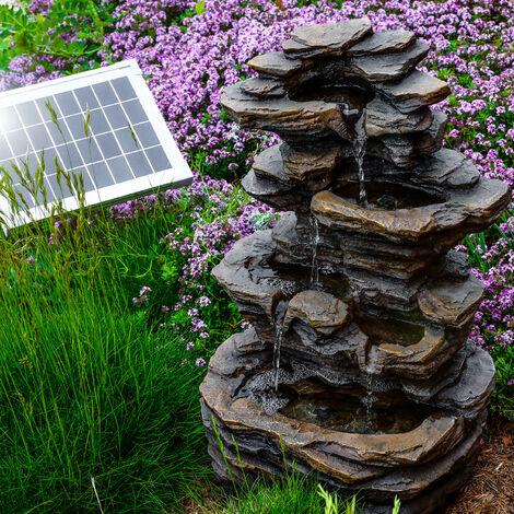 Fontana solare da giardino + batteria. Fontana sorgente con giochi d'acqua e cascate. Fontana solare esotec 101316