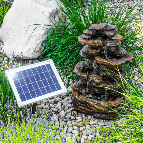 Fontana solare da giardino. Fontana sorgente con giochi d'acqua. Cascate decorative. Fontana solare esotec 101313