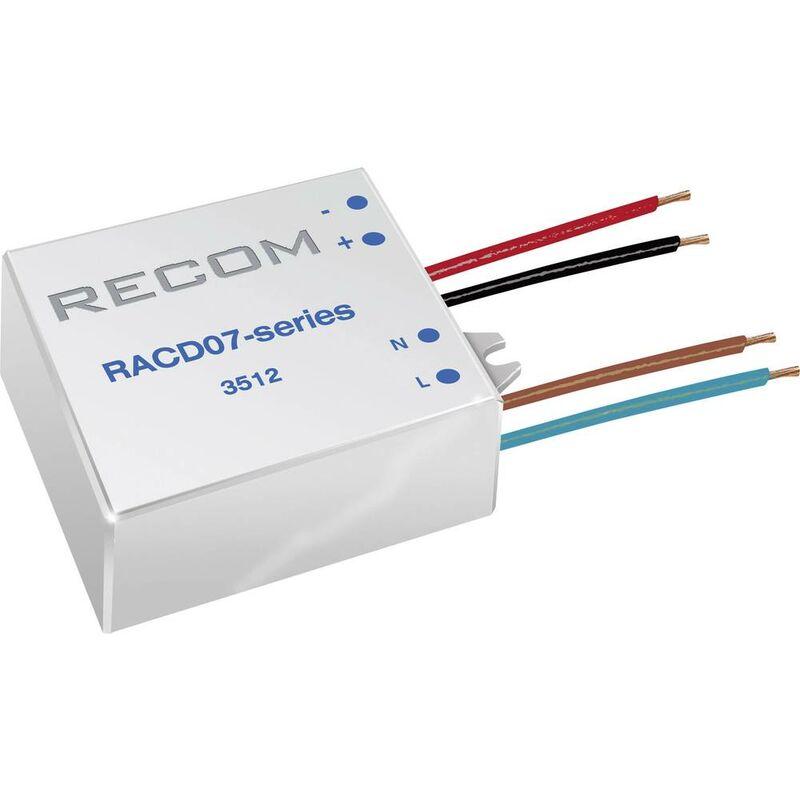Recom Lighting RACD07-350 Fonte di alimentazione costante LED 7 W 350 mA 21 V/DC Max. Voltaggio operativo: 264 V/AC