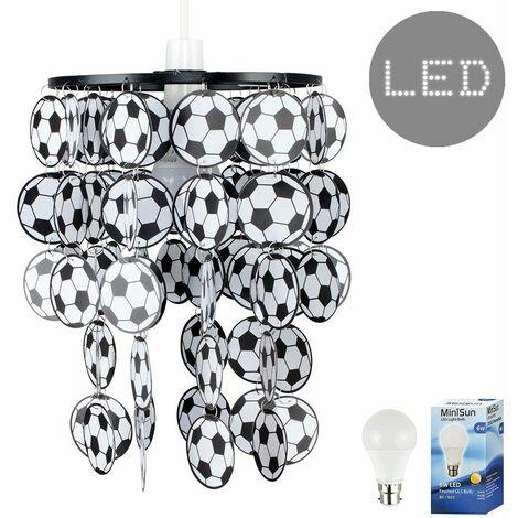Football Ceiling Light Shade + 6W LED Bulb - Black