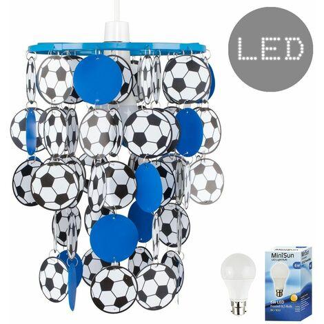 Football Ceiling Light Shade + 6W LED Bulb - Blue