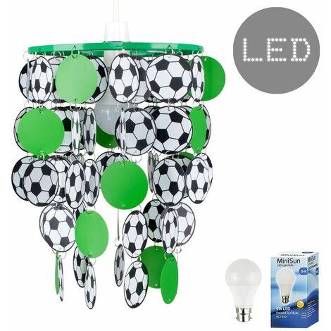 Football Ceiling Light Shade + 6W LED Bulb - Green