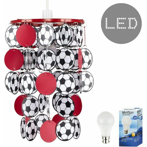 Football Ceiling Light Shade + 6W LED Bulb - Red