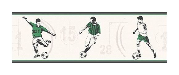Image of Football Wallpaper Border Carousel Soccer Kids Children's Green Black Off White