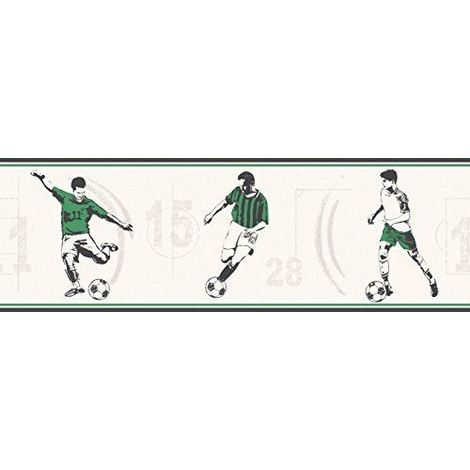 Football Wallpaper Border Carousel Soccer Kids Children's Green Black Off White