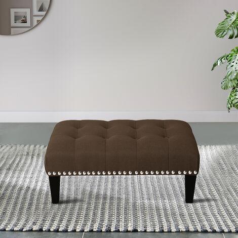 Footstool Button Seat Bench Ottoman Pouffe Stool Coffee 50x37x20cm