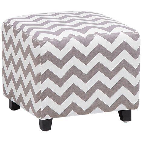 Footstool Grey and White Modern Living Room Cube Chevron Fabric Ottoman Kansas