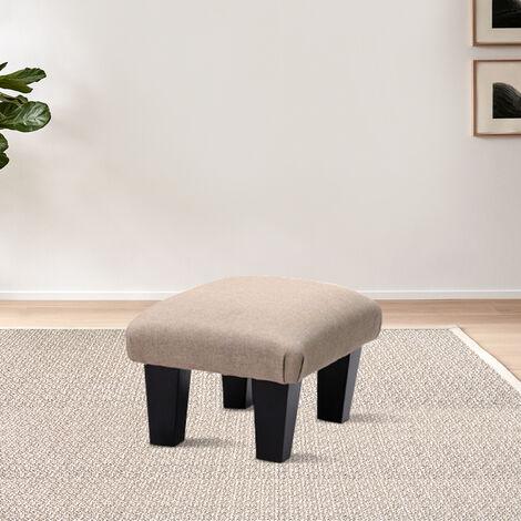 Footstool Linen Fabric Ottoman Footrest Stool Chair Kids Seat