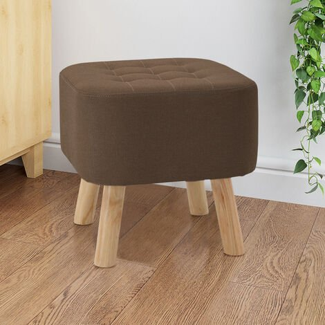 Footstool Ottoman Square Pouffe Stool Wooden Leg Coffee