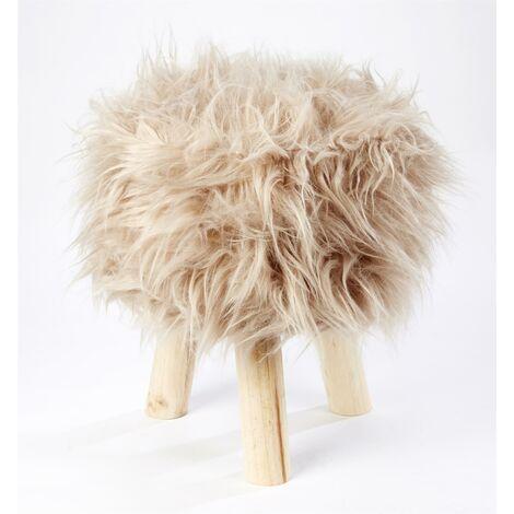 Footstool Pouffe Mongolian Faux Fur Wooden Leg Scandi Foot Stool Chair Beige