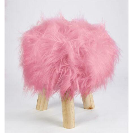 Footstool Pouffe Mongolian Faux Fur Wooden Leg Scandi Foot Stool Chair Cerise Pink